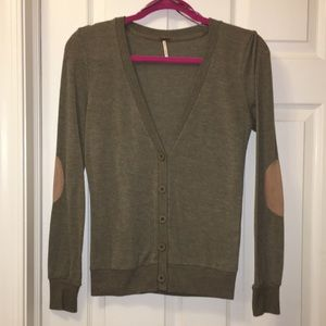 Women's V-Neck Button Cardigan w/ Elbow Patches